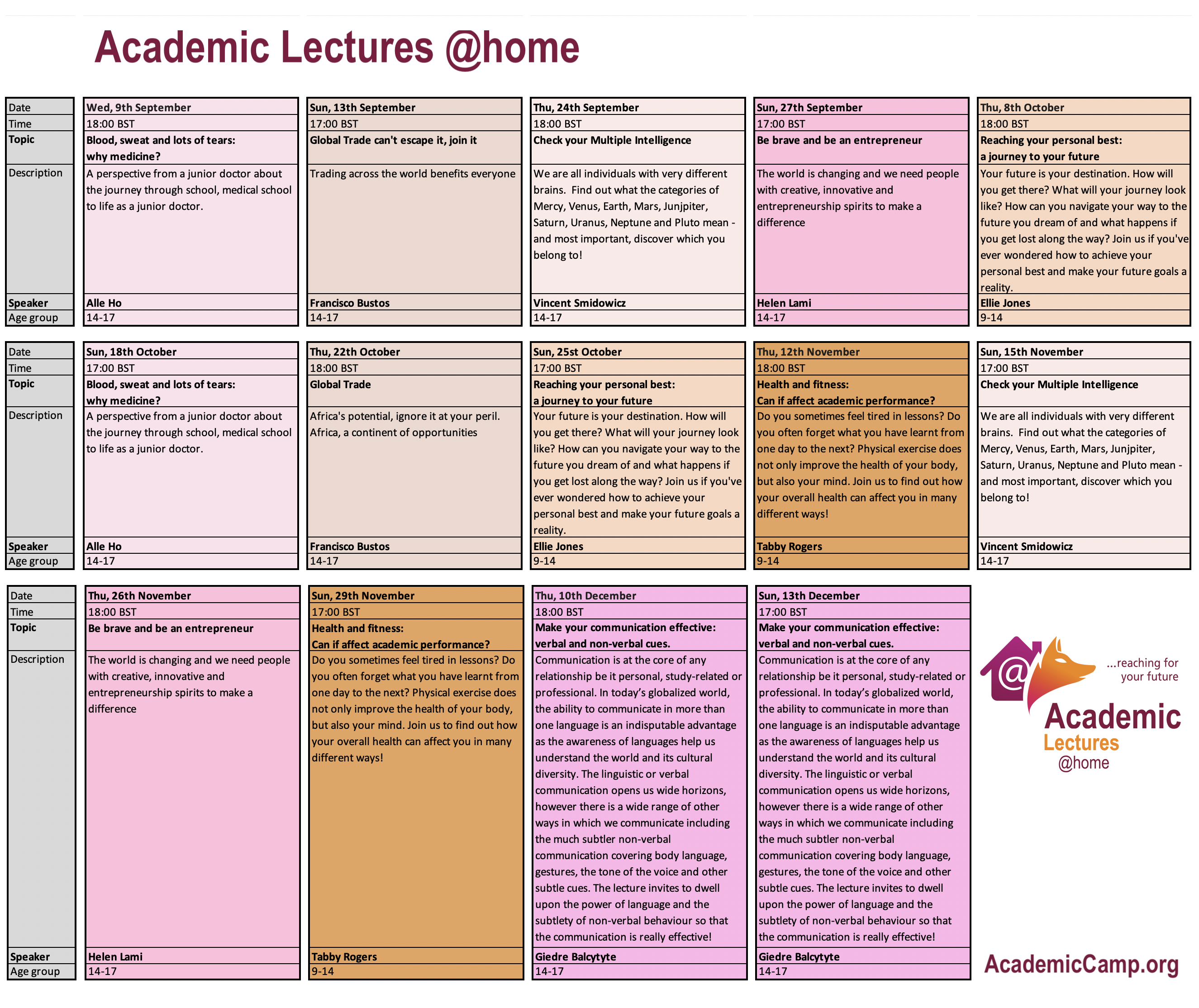 Academic Lectures @home schedule